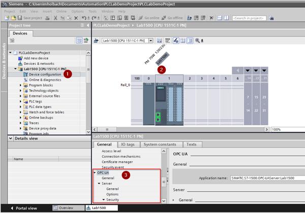Screenshot - Configuring OPC UA Server in TIA Portal