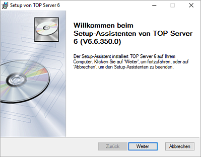 TOP Server Installer with German Selected