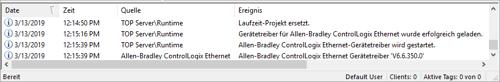 TOP Server Event Log in German