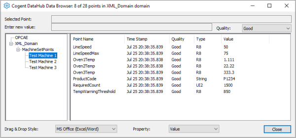 Screenshot - Viewing XML data points in DataHub View Data window