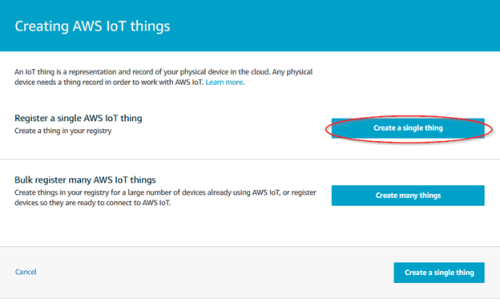 Screenshot - Creating a single thing in AWS IoT Core