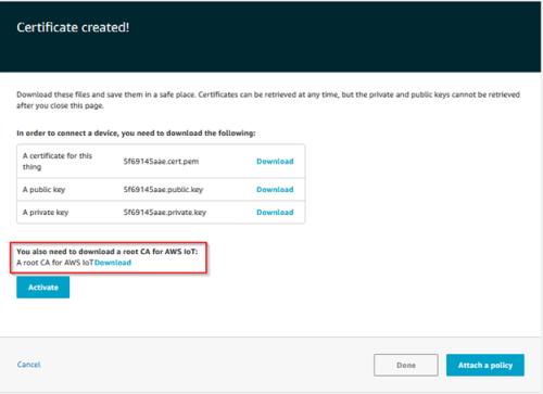 Screenshot - Downloading root CA for AWS IoT