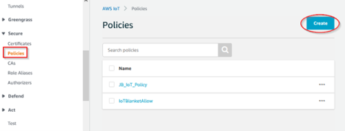 Screenshot - Creating a new policy for AWS thing