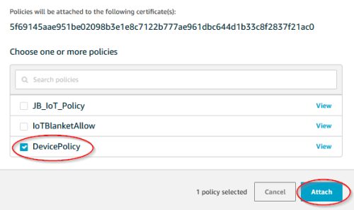 Screenshot - Selecting and attaching policy to an AWS thing certificate_AWS_ThingSettings7_SelectPolicy_to_AttachCert