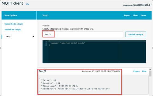Screenshot - Publishing to an MQTT with AWS MQTT client