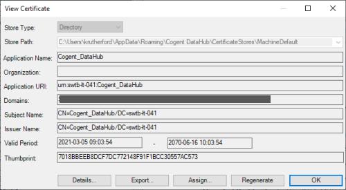 Screenshot - Managing DataHub's OPC UA server certificate