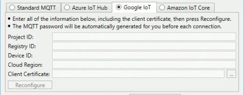 Screenshot - Google IoT specific settings in DataHub MQTT Client