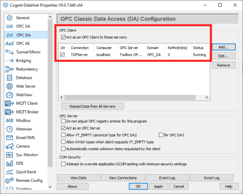 Screenshot - Accessing data from OPC DA server in DataHub