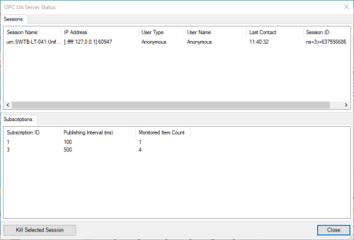 Screenshot - DataHub OPC UA Server Status window