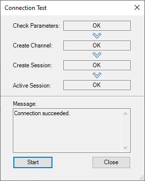 Screenshot - OPC UA Connection Test in DataHub Successful