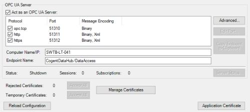 Screenshot - DataHub OPC UA Server settings