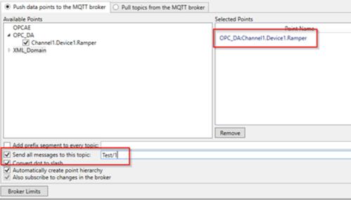 Screenshot - Selecting data to push to AWS via MQTT