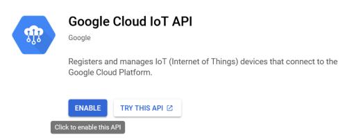 Screenshot - Enabling Google Cloud IoT API