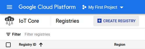 Screenshot - Creating a Registry in Google Cloud IoT Core