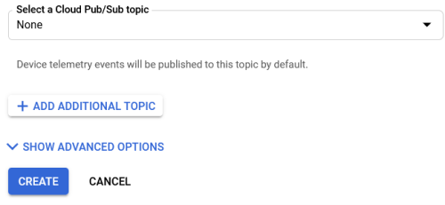 Screenshot - Create Button for Registry in Google Cloud IoT Core
