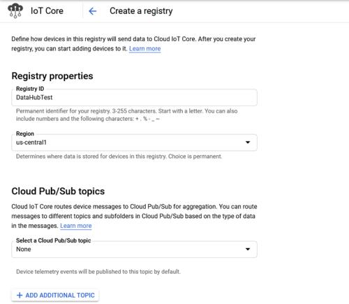 Screenshot - Defining Registry details in Google Cloud IoT Core