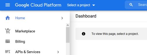 Screenshot - Select a Project in Google Cloud IoT Core