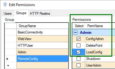Screenshot - Adding RemoteConfig Group Permissions