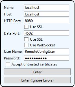 Screenshot - DataHub V9 Remote Configuration Log-in