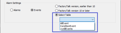 Screenshot - Table Select for FactoryTalk View SE Historical Alarms and Events