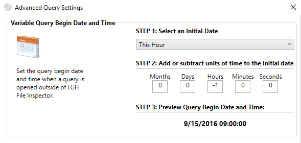 Defining Query Date and Frequency Settings
