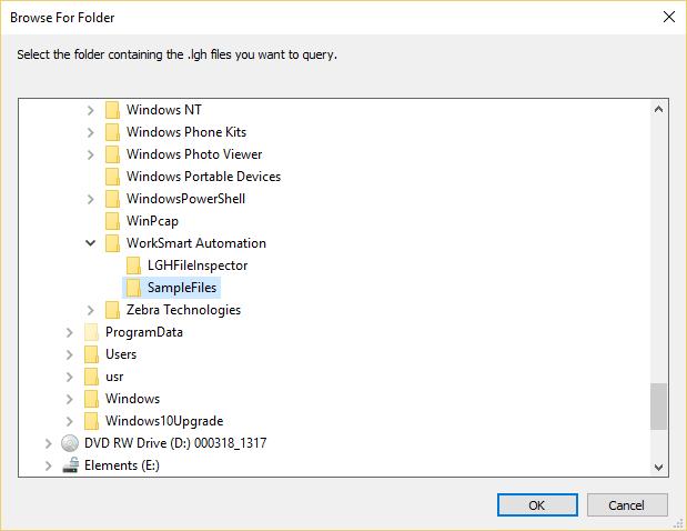 Selecting LGH File Directory