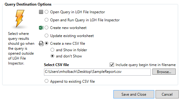 Specifying Destination of Query Results