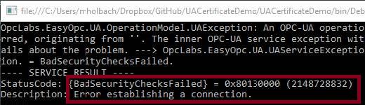 OPCUA_DataClient_CertificateExchange_Error