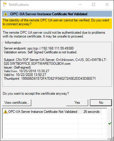 Screenshot - Warning when OPC UA certificates have not been exchanged yet
