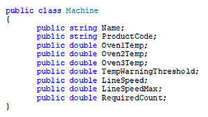 Screenshot - .NET Example Code for Defining a Class for XML Data