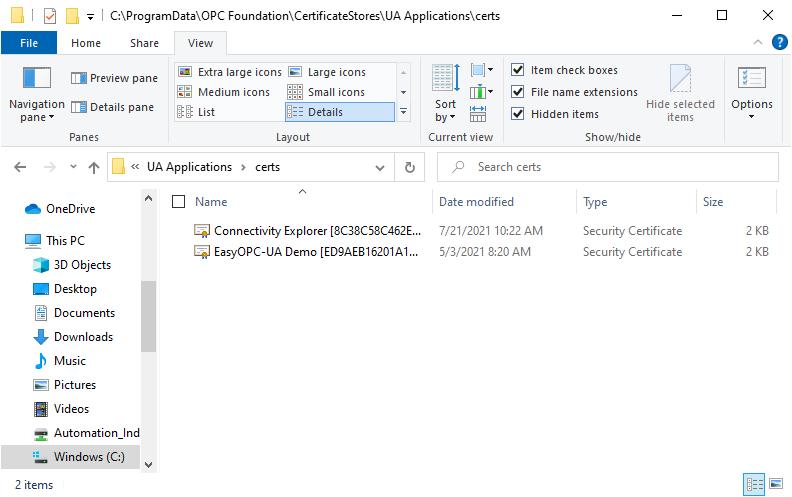 Screenshot - OPC UA Certificates Directory