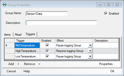 Screenshot - Triggers for High Temp Range Logging Group
