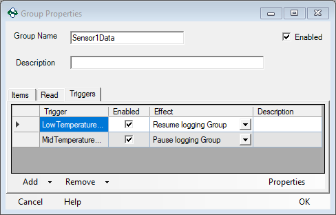Screenshot - Triggers for Low Temp Range Logging Group