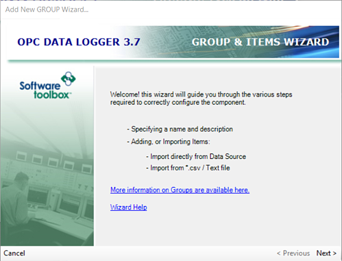 Adding an OPC Data Logger Logging Group of Items