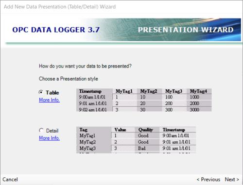 Adding an OPC Data Logger Data Presentation