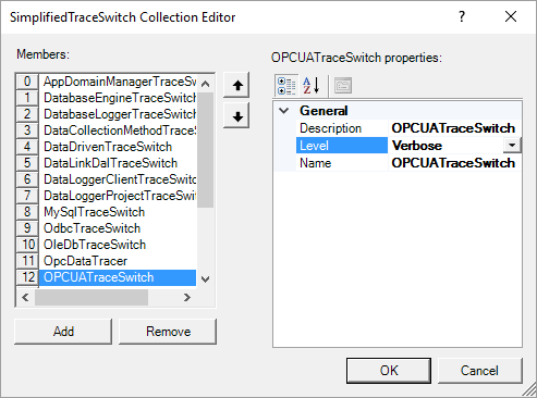 Screenshot - Enabling Increased OPC UA Tracing in OPC Data Logger