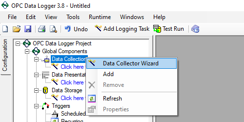 Screenshot - Launching OPC Data Logger Data Collector Wizard
