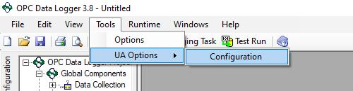 Screenshot - OPC Data Logger UA Options Menu