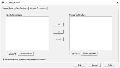 Screenshot - OPC Data Logger Trusted OPC UA server options