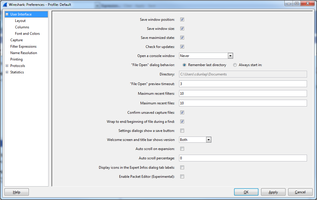 Editing Wireshark Preferences