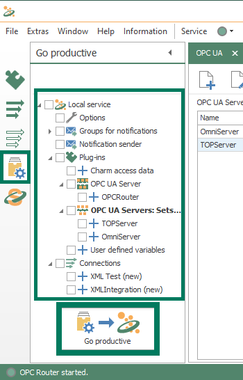 Screenshot - Go Productive to publish OPC Router changes