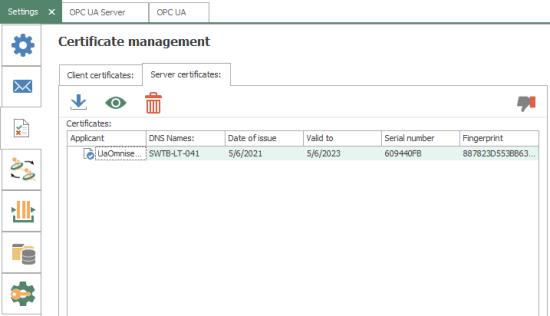 Screenshot - OPC Router Certificate Management for external OPC UA client/servers