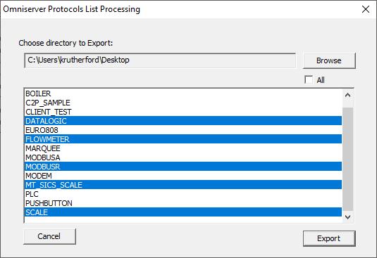 Screenshot - OmniServer Export Protocols Dialog