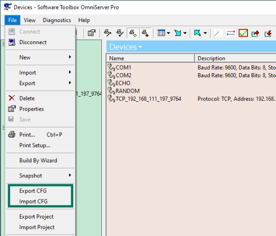 Screenshot - OmniServer CFG Import & Export File Menu options