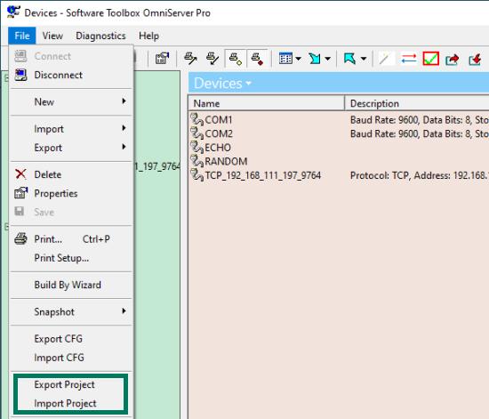 Screenshot - OmniServer Project Import & Export File Menu options