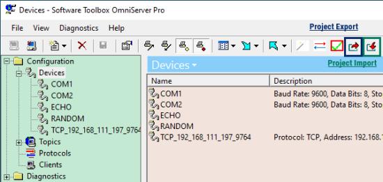 Screenshot - OmniServer Project Import/Export Toolbar Buttons