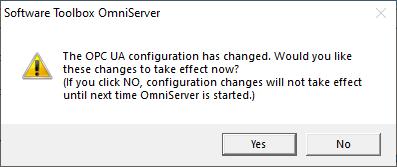 Screenshot - Applying OmniServer OPC UA setting edits