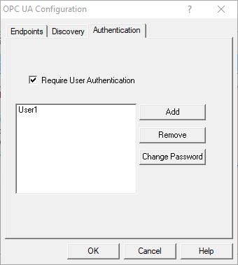 Screenshot - OPC UA Users and Passwords for OmniServer