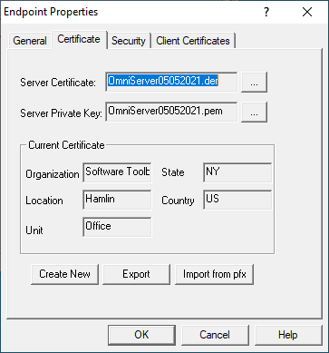 Screenshot - OmniServer Certificate Settings for OPC UA Endpoint