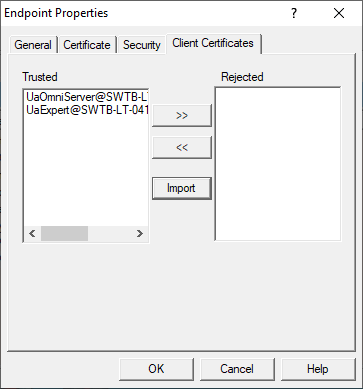 Screenshot - Managing trusted and rejected OPC UA clients in OmniServer